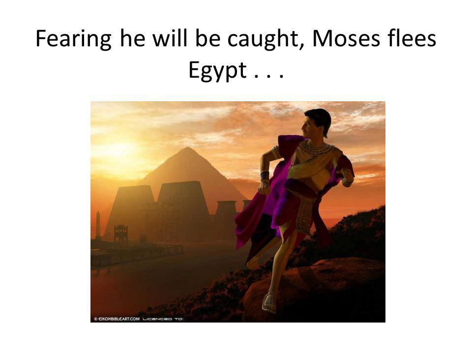 Fearing he will be caught, Moses flees Egypt...