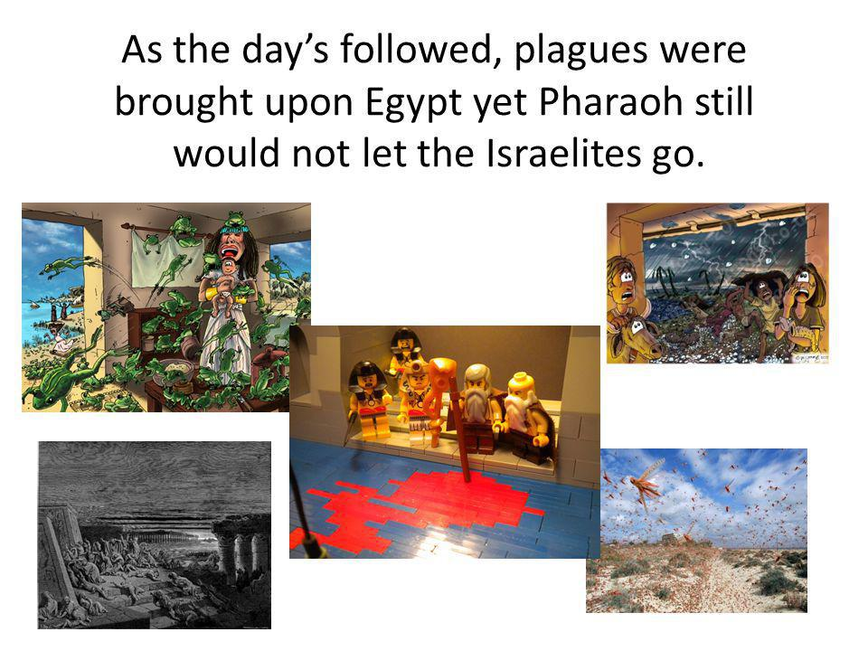 As the days followed, plagues were brought upon Egypt yet Pharaoh still would not let the Israelites go.