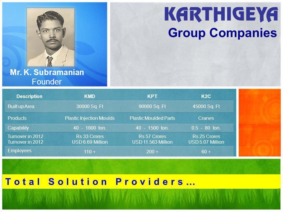 Group Companies T o t a l S o l u t i o n P r o v i d e r s … Mr. K. Subramanian Founder
