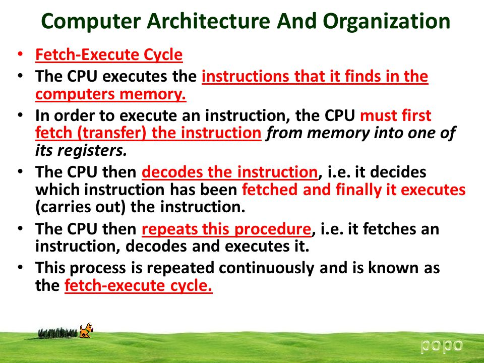 Computer Architecture And Organization Fetch-Execute Cycle The CPU executes the instructions that it finds in the computers memory. In order to execut