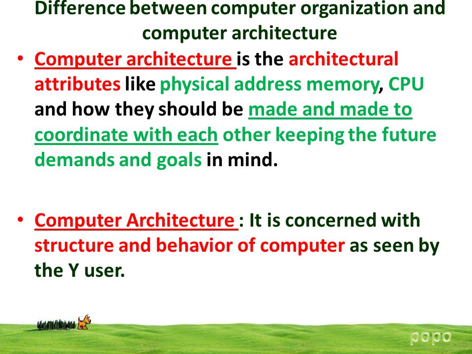 Difference between computer organization and computer architecture Computer architecture is the architectural attributes like physical address memory,