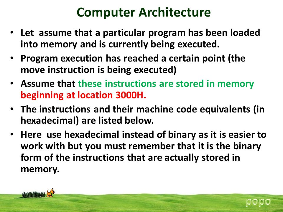 Computer Architecture Let assume that a particular program has been loaded into memory and is currently being executed. Program execution has reached