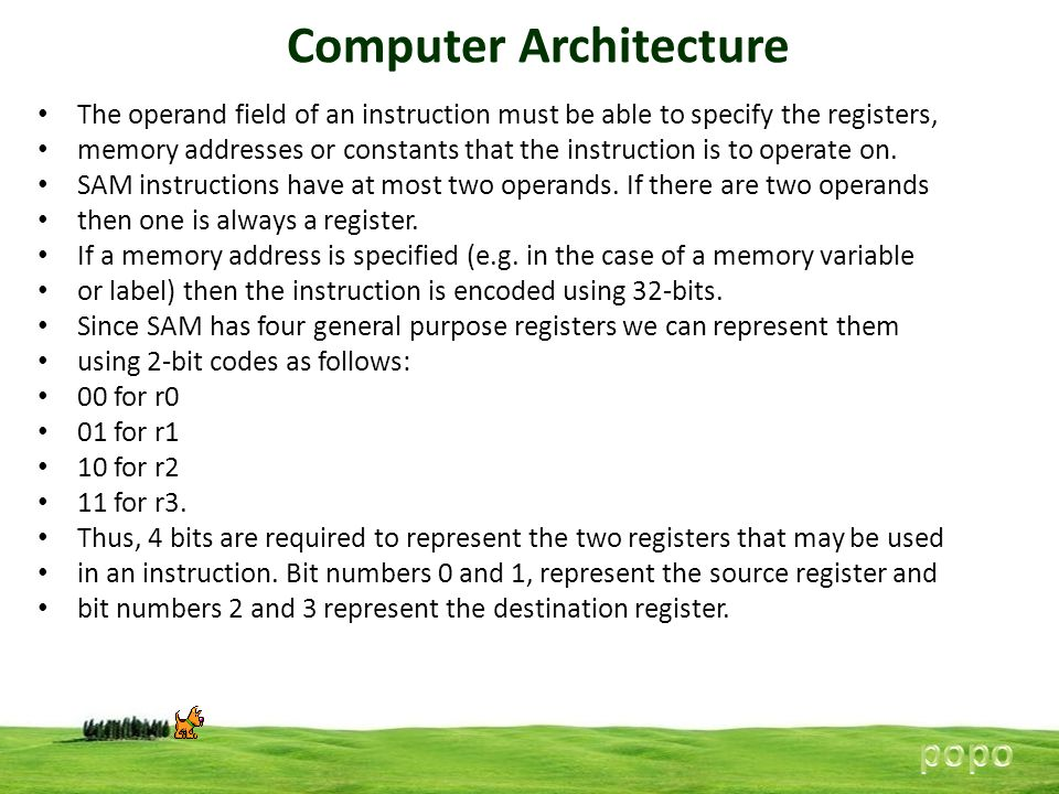 Computer Architecture The operand field of an instruction must be able to specify the registers, memory addresses or constants that the instruction is