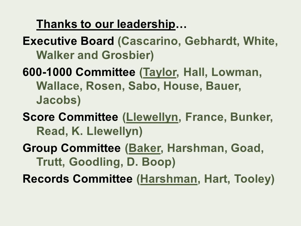 Thanks to our leadership… Executive Board (Cascarino, Gebhardt, White, Walker and Grosbier) 600-1000 Committee (Taylor, Hall, Lowman, Wallace, Rosen,