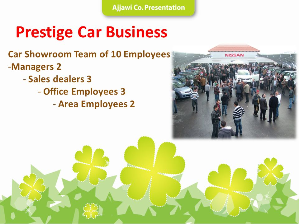 Car Showroom Team of 10 Employees -Managers 2 - Sales dealers 3 - Office Employees 3 - Area Employees 2 Prestige Car Business
