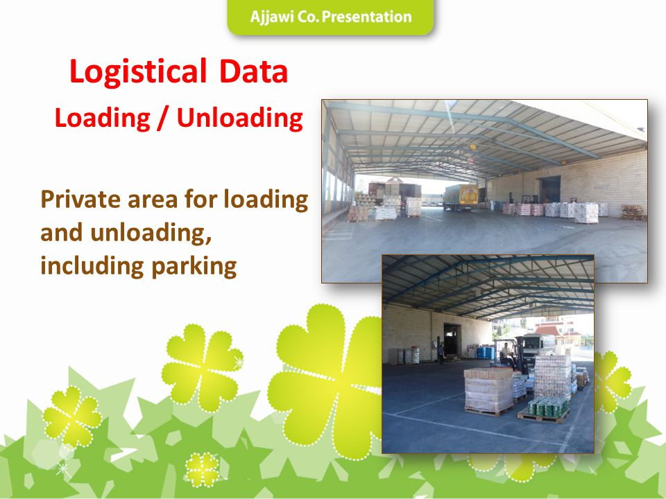 Private area for loading and unloading, including parking Logistical Data Loading / Unloading