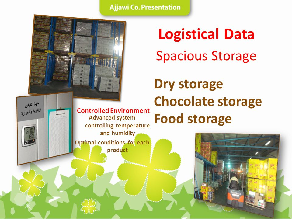Logistical Data Spacious Storage Dry storage Chocolate storage Food storage Advanced system controlling temperature and humidity Optimal conditions fo