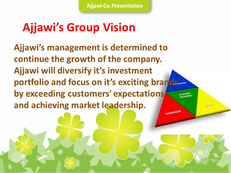 Ajjawis management is determined to continue the growth of the company. Ajjawi will diversify its investment portfolio and focus on its exciting brand