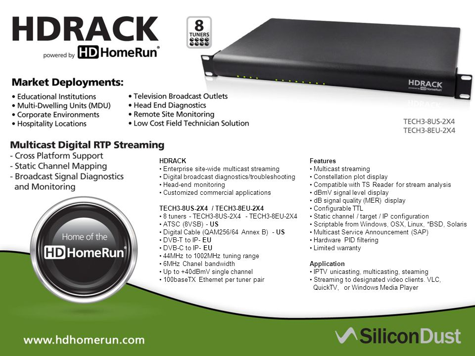 HDRACK Enterprise site-wide multicast streaming Digital broadcast diagnostics/troubleshooting Head-end monitoring Customized commercial applications T