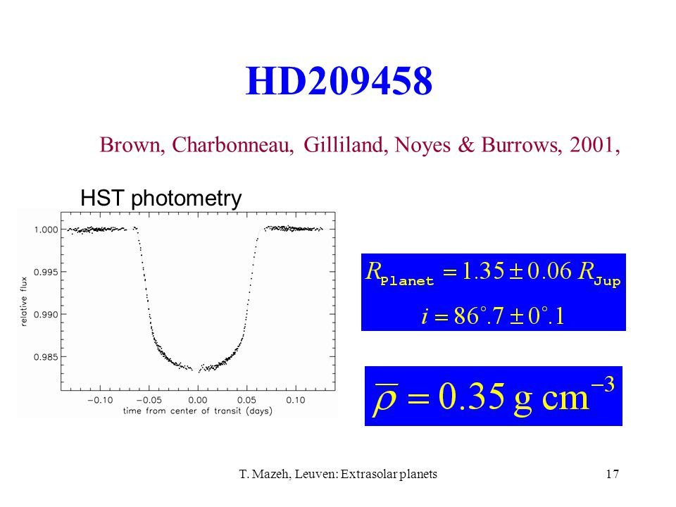 T. Mazeh, Leuven: Extrasolar planets17 HD209458 Brown, Charbonneau, Gilliland, Noyes & Burrows, 2001, HST photometry