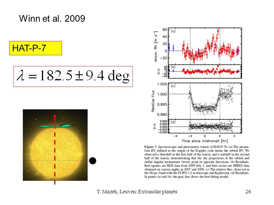 T. Mazeh, Leuven: Extrasolar planets26 Winn et al. 2009 HAT-P-7