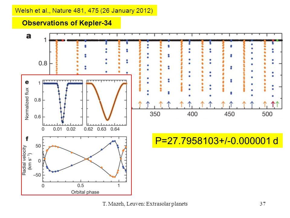 T. Mazeh, Leuven: Extrasolar planets37 Observations of Kepler-34 Welsh et al., Nature 481, 475 (26 January 2012) P=27.7958103+/-0.000001 d