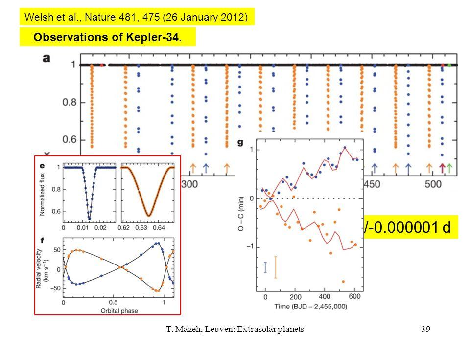 T. Mazeh, Leuven: Extrasolar planets39 Observations of Kepler-34. Welsh et al., Nature 481, 475 (26 January 2012) P=27.7958103+/-0.000001 d