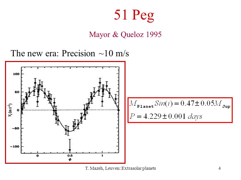 T. Mazeh, Leuven: Extrasolar planets4 51 Peg Mayor & Queloz 1995 The new era: Precision ~10 m/s