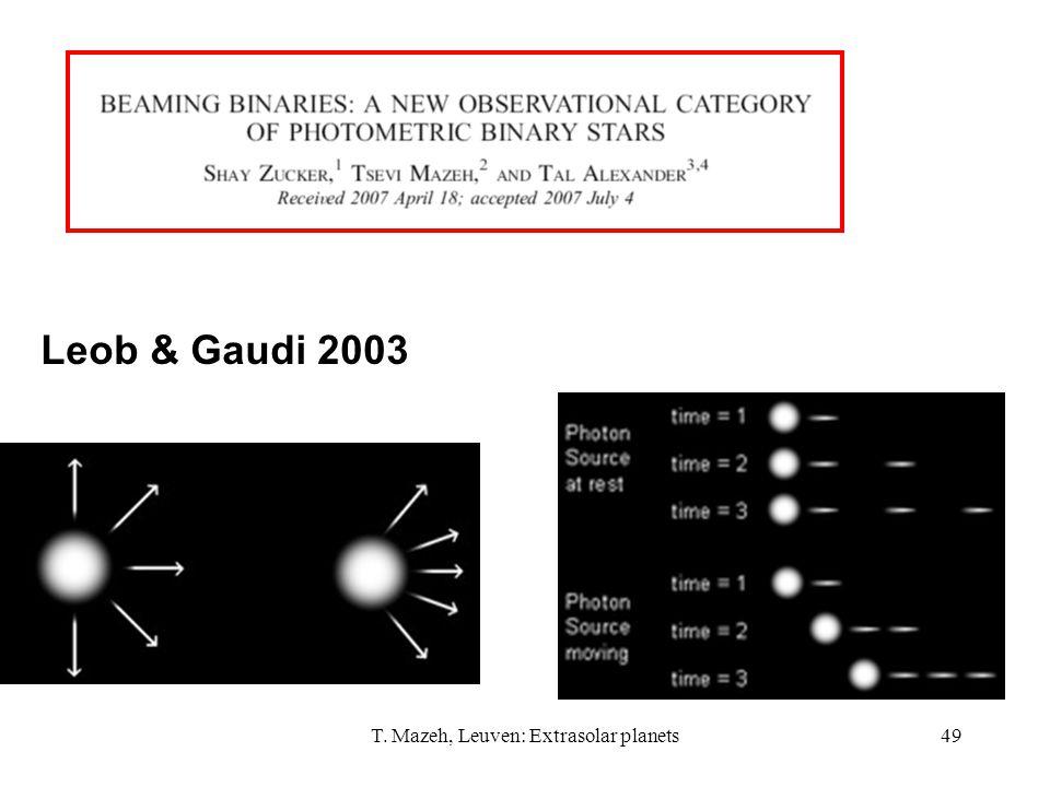 T. Mazeh, Leuven: Extrasolar planets49 Leob & Gaudi 2003