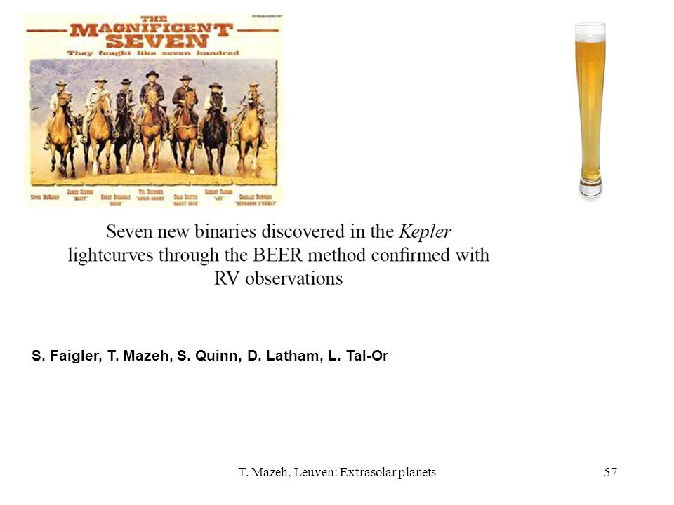 T. Mazeh, Leuven: Extrasolar planets57 S. Faigler, T. Mazeh, S. Quinn, D. Latham, L. Tal-Or