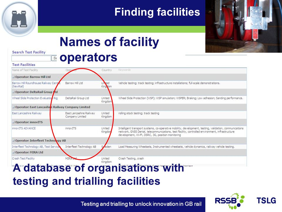 Finding facilities Testing and trialling to unlock innovation in GB rail A database of organisations with testing and trialling facilities Names of facility operators