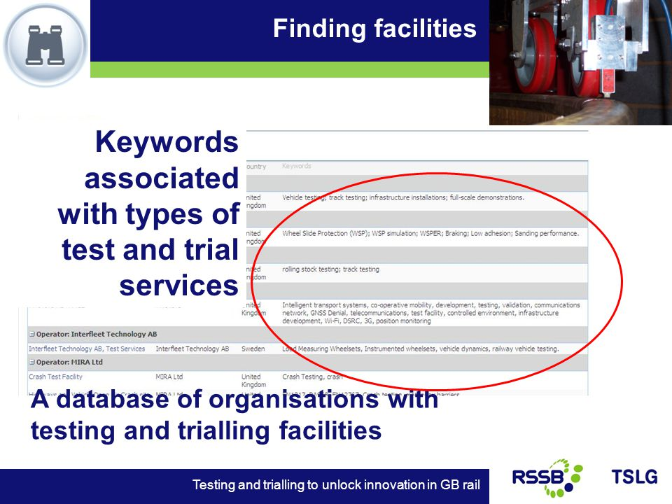 Finding facilities Testing and trialling to unlock innovation in GB rail A database of organisations with testing and trialling facilities Keywords associated with types of test and trial services