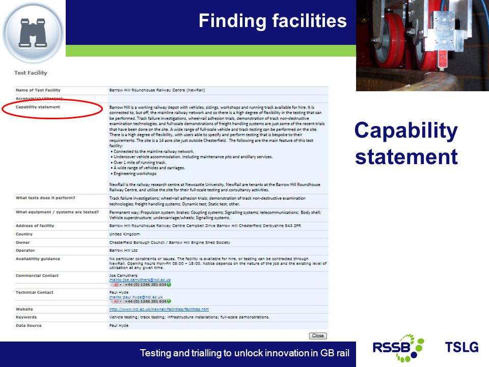 Finding facilities Testing and trialling to unlock innovation in GB rail Capability statement
