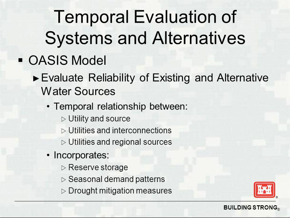 BUILDING STRONG ® Temporal Evaluation of Systems and Alternatives OASIS Model Evaluate Reliability of Existing and Alternative Water Sources Temporal relationship between: Utility and source Utilities and interconnections Utilities and regional sources Incorporates: Reserve storage Seasonal demand patterns Drought mitigation measures