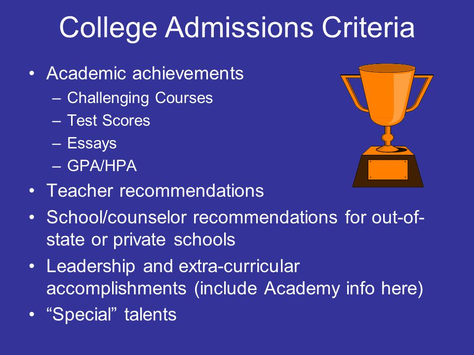 College Admissions Criteria Academic achievements –Challenging Courses –Test Scores –Essays –GPA/HPA Teacher recommendations School/counselor recommen
