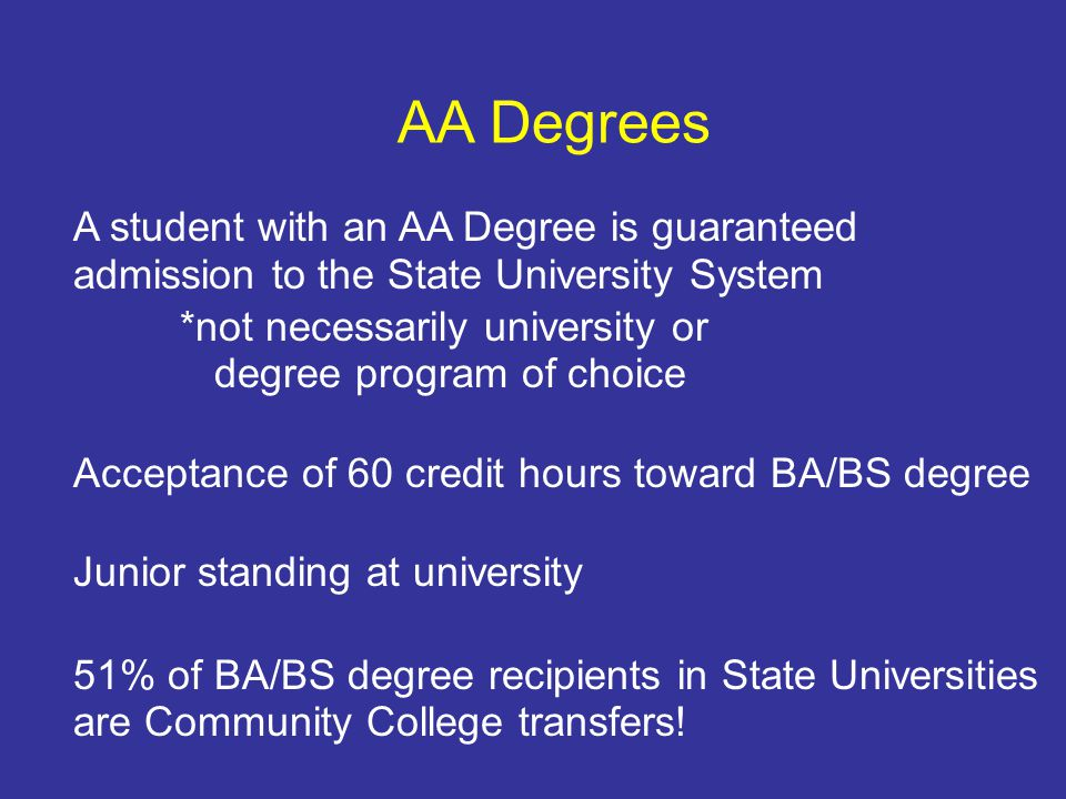 AA Degrees A student with an AA Degree is guaranteed admission to the State University System *not necessarily university or degree program of choice Acceptance of 60 credit hours toward BA/BS degree Junior standing at university 51% of BA/BS degree recipients in State Universities are Community College transfers!