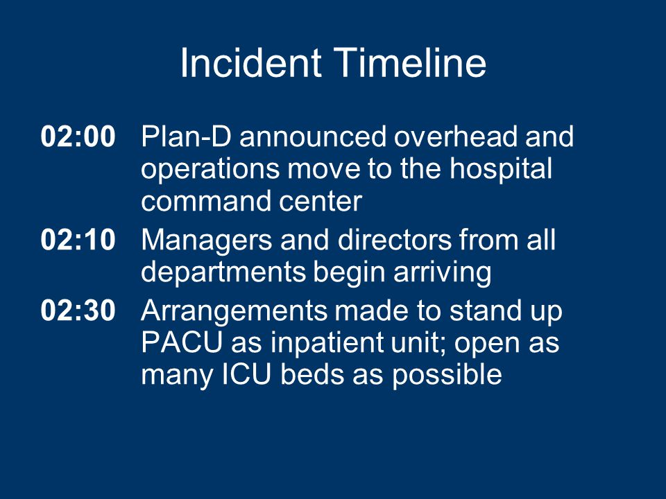 Incident Timeline 02:00Plan-D announced overhead and operations move to the hospital command center 02:10Managers and directors from all departments begin arriving 02:30Arrangements made to stand up PACU as inpatient unit; open as many ICU beds as possible