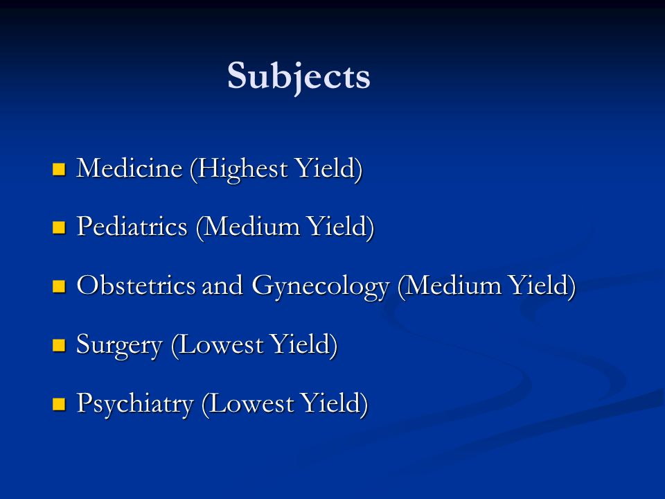 Subjects Medicine (Highest Yield) Medicine (Highest Yield) Pediatrics (Medium Yield) Pediatrics (Medium Yield) Obstetrics and Gynecology (Medium Yield