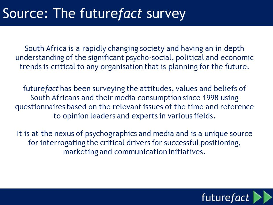 future fact Source: The futurefact survey South Africa is a rapidly changing society and having an in depth understanding of the significant psycho-social, political and economic trends is critical to any organisation that is planning for the future.