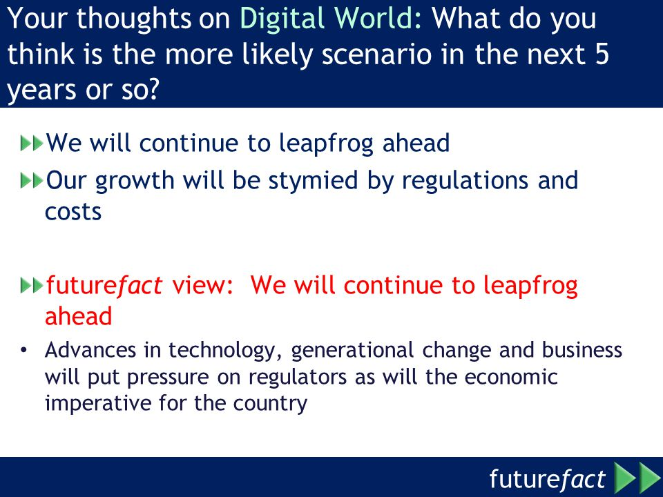 future fact Your thoughts on Digital World: What do you think is the more likely scenario in the next 5 years or so.