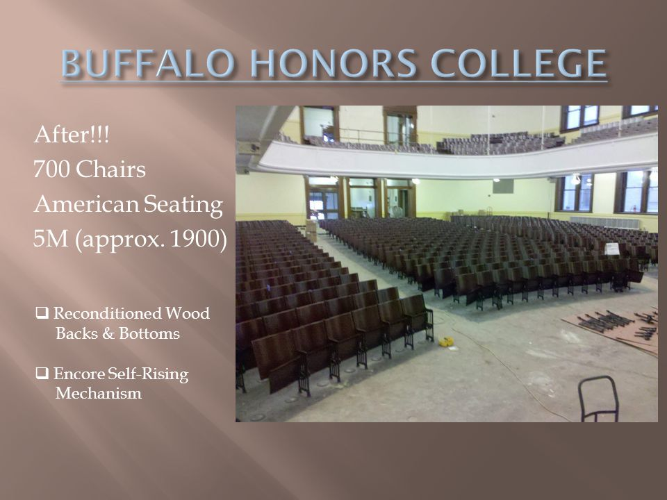 After!!! 700 Chairs American Seating 5M (approx. 1900) Reconditioned Wood Backs & Bottoms Encore Self-Rising Mechanism