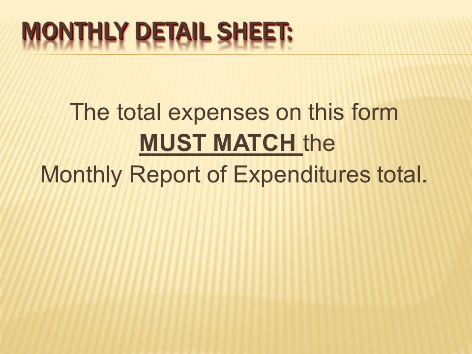 The total expenses on this form MUST MATCH the Monthly Report of Expenditures total.