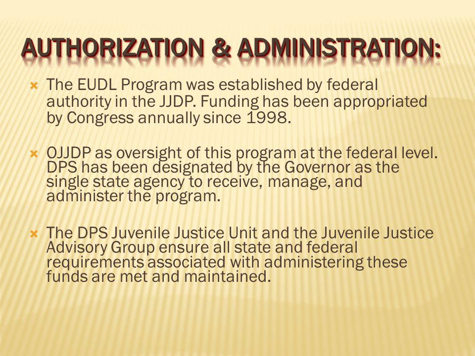 The EUDL Program was established by federal authority in the JJDP.