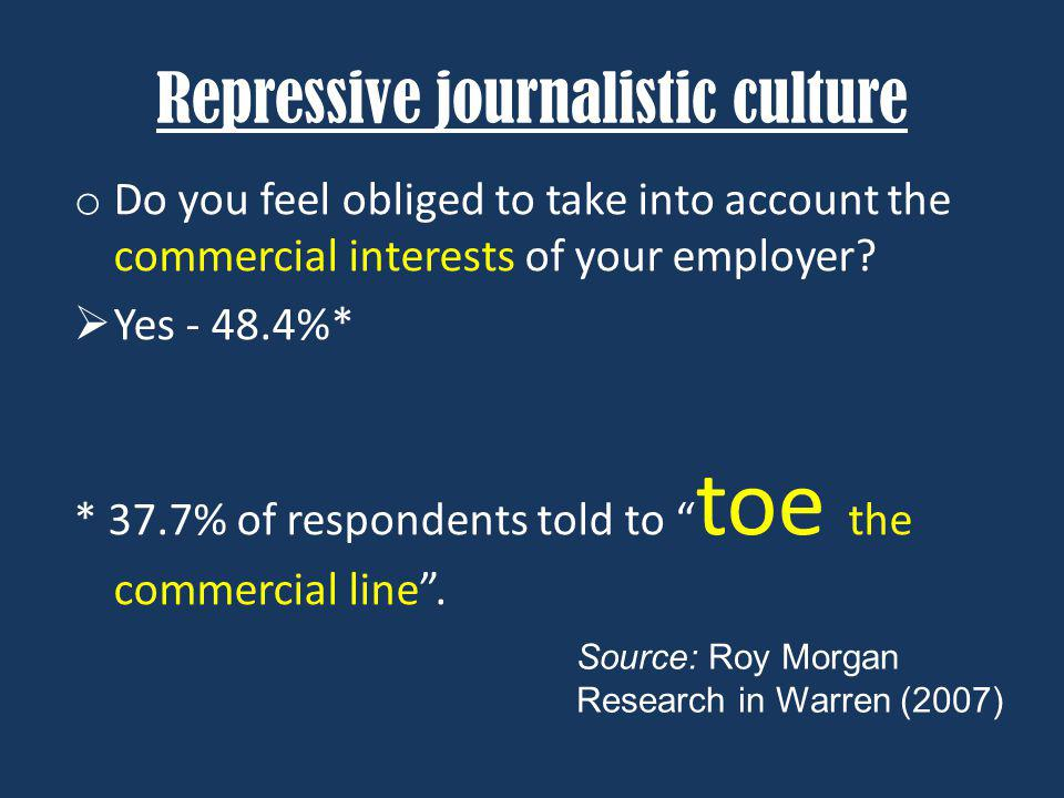 Repressive journalistic culture o Do you feel obliged to take into account the commercial interests of your employer.