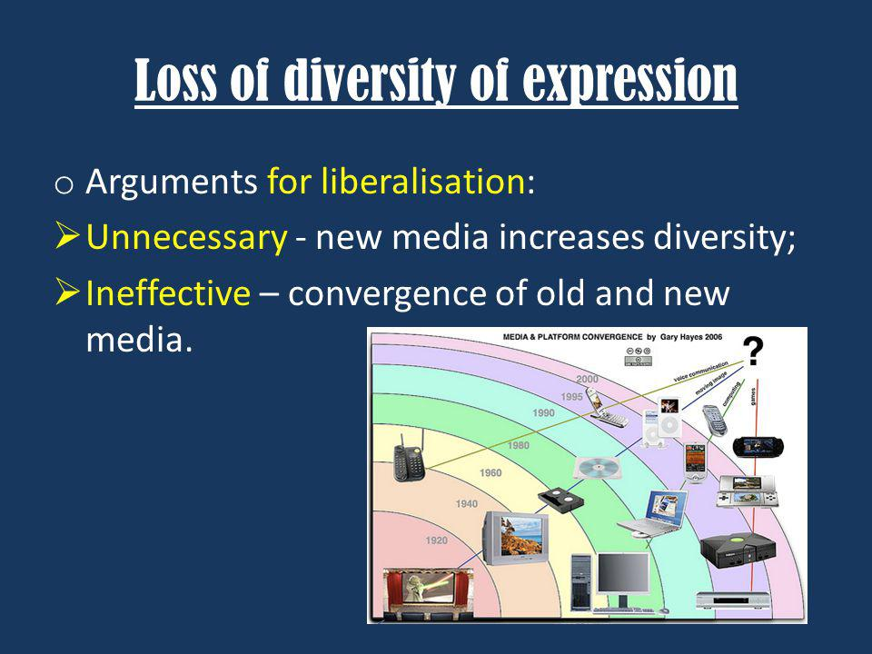 Loss of diversity of expression o Arguments for liberalisation: Unnecessary - new media increases diversity; Ineffective – convergence of old and new media.