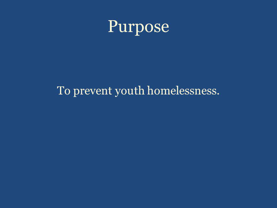 Purpose To prevent youth homelessness.