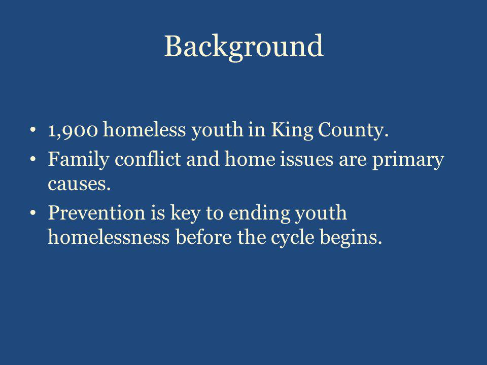 Background 1,900 homeless youth in King County. Family conflict and home issues are primary causes.