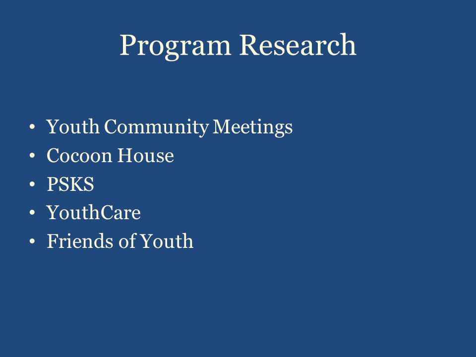 Program Research Youth Community Meetings Cocoon House PSKS YouthCare Friends of Youth