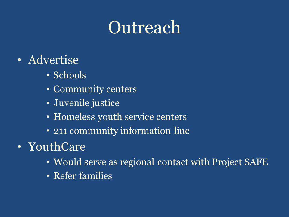 Outreach Advertise Schools Community centers Juvenile justice Homeless youth service centers 211 community information line YouthCare Would serve as regional contact with Project SAFE Refer families
