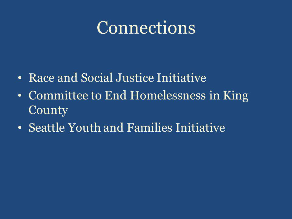 Connections Race and Social Justice Initiative Committee to End Homelessness in King County Seattle Youth and Families Initiative