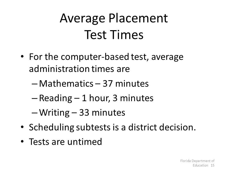 Average Placement Test Times For the computer-based test, average administration times are – Mathematics – 37 minutes – Reading – 1 hour, 3 minutes – Writing – 33 minutes Scheduling subtests is a district decision.