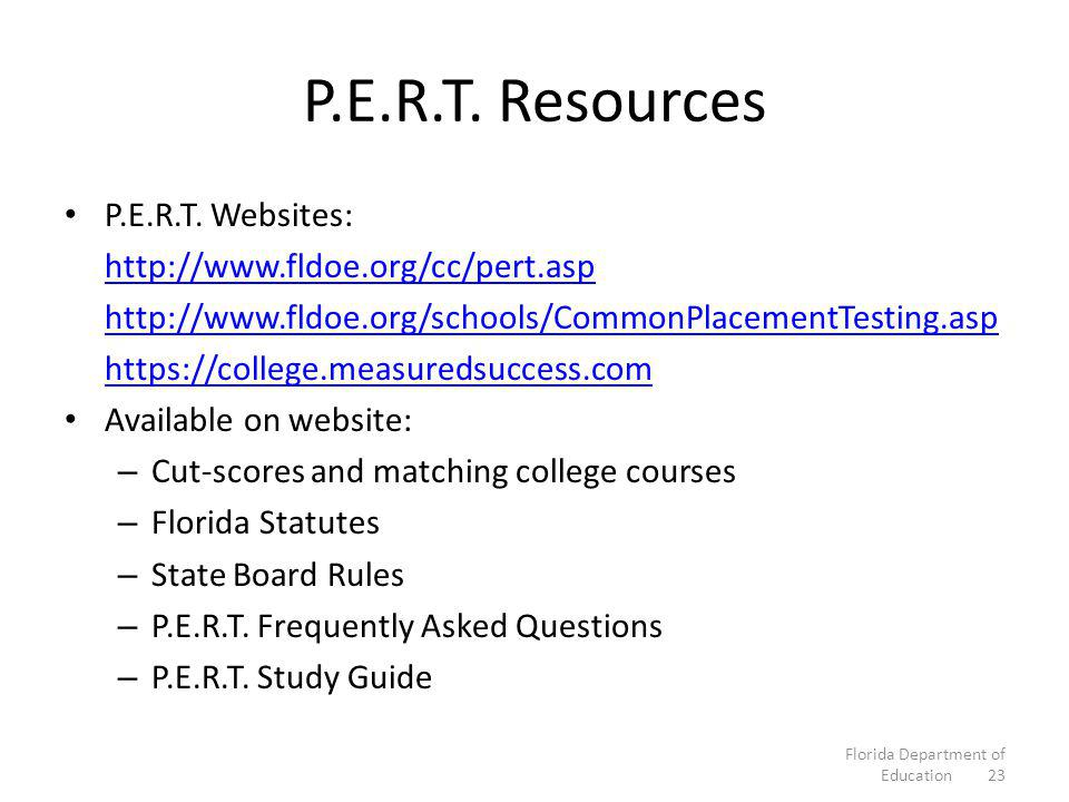 P.E.R.T. Resources P.E.R.T.
