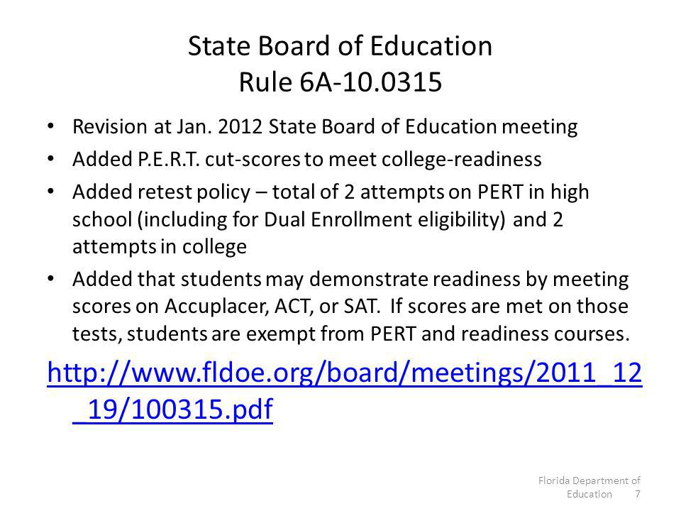 State Board of Education Rule 6A-10.0315 Revision at Jan.