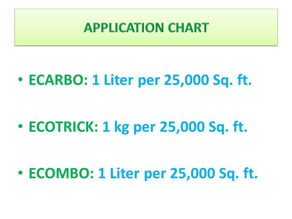 ECARBO: 1 Liter per 25,000 Sq. ft. ECOTRICK: 1 kg per 25,000 Sq. ft. ECOMBO: 1 Liter per 25,000 Sq. ft.