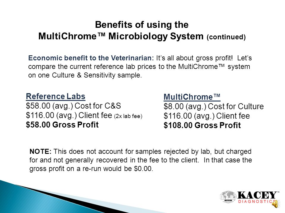 Benefits of using the MultiChrome Microbiology System To best demonstrate this, lets compare the Diagnostic and Economic benefits of MultiChrome versus the Ref.
