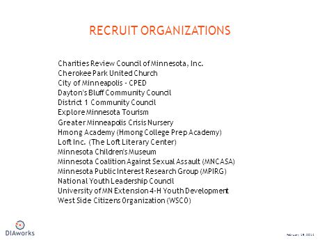 Charities Review Council of Minnesota, Inc. Cherokee Park United Church City of Minneapolis - CPED Dayton's Bluff Community Council District 1 Communi