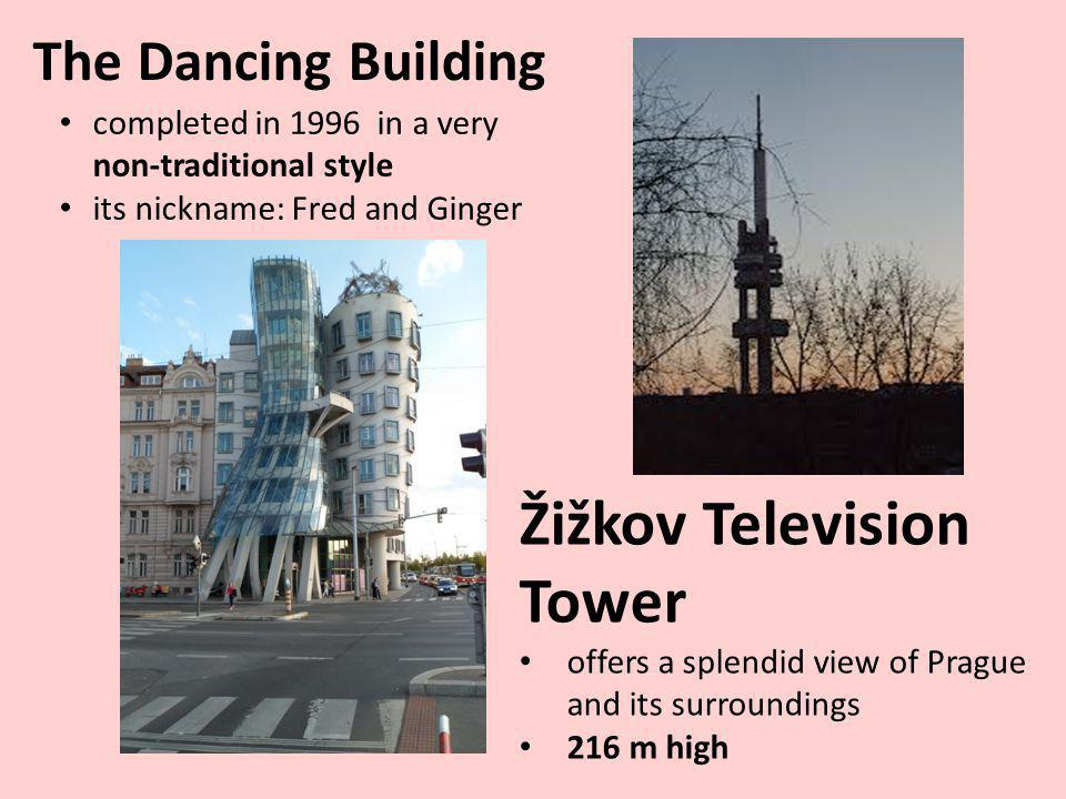 The Dancing Building Žižkov Television Tower offers a splendid view of Prague and its surroundings 216 m high completed in 1996 in a very non-traditional style its nickname: Fred and Ginger