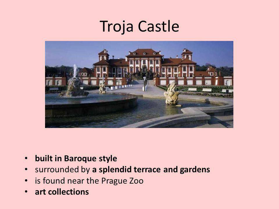Troja Castle built in Baroque style surrounded by a splendid terrace and gardens is found near the Prague Zoo art collections