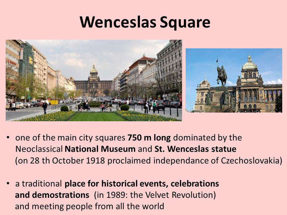 Wenceslas Square one of the main city squares 750 m long dominated by the Neoclassical National Museum and St.