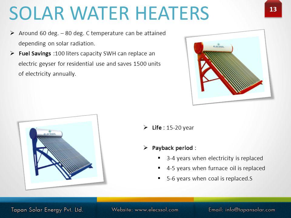 13 Around 60 deg.– 80 deg. C temperature can be attained depending on solar radiation.